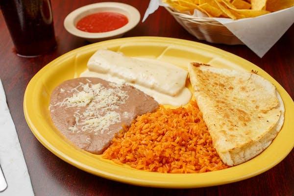 F. (1) Cheese Enchilada & (1) Cheese Quesadilla