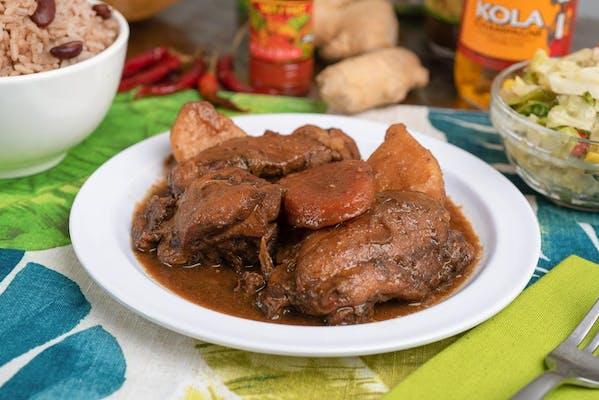 Brown Stew Chicken Dinner