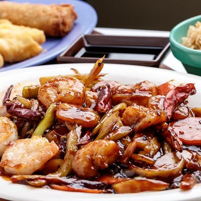 C4. Sweet Vinegar Garlic Shrimp with Sweet & Sour Chicken