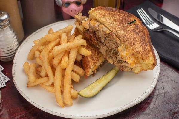 Grilled Pimento Cheese & Barbecue Pulled Pork Sandwich