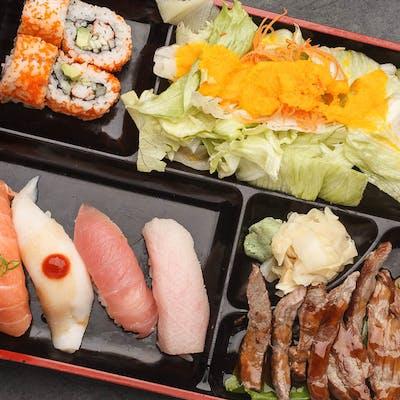 Beef Teriyaki & Sushi