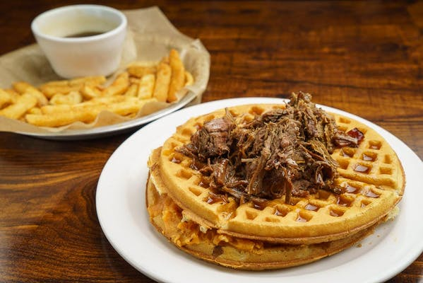 Brisket & Sweet Potato Stuffed Waffles