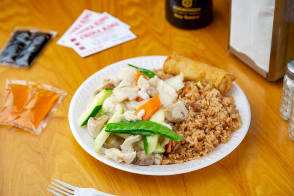 Moo Goo Gai Pan Combination Platter