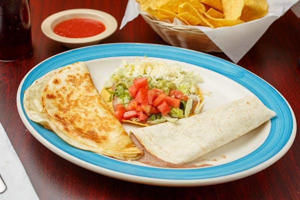 C. (1) Bean Burrito, (1) Cheese Quesadilla & (1) Chalupa