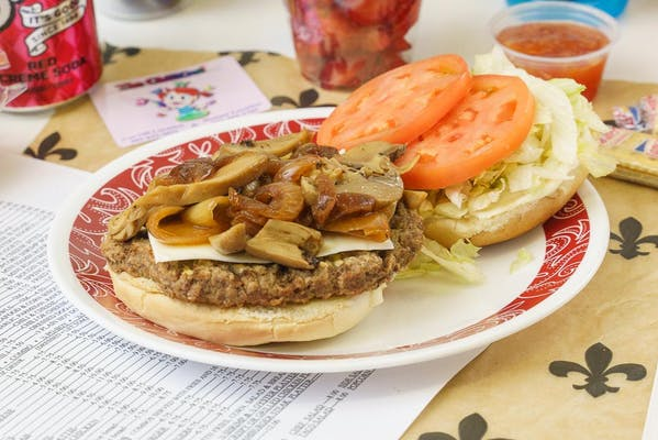 Swiss, Onion & Mushroom Hamburger
