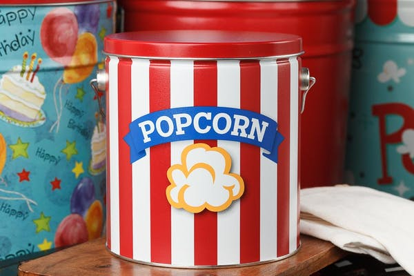 Blue Ribbon Popcorn Tin