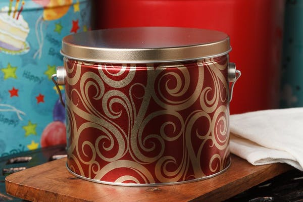 (½) Gallon Golden Swirls Popcorn Tin