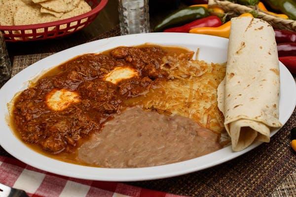 Huevos Rancheros Carne Guisada