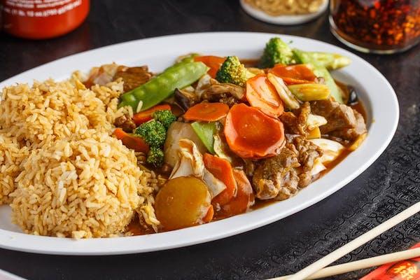 A21. Mongolian Beef Platter