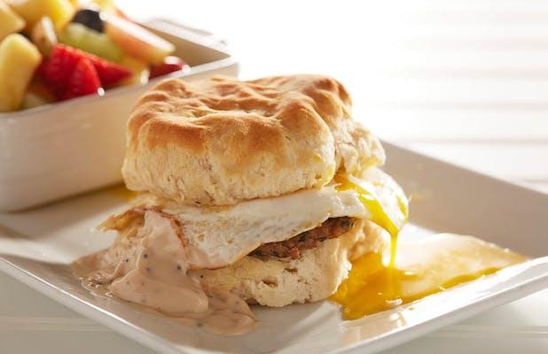 Broken Egg Chicken & Biscuit Sandwich