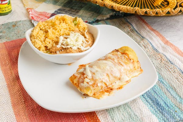 P. Beef Enchilada, Rice & Beans