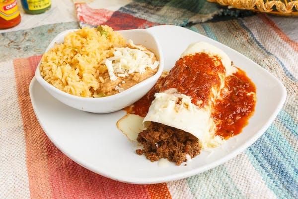 Q. Beef Burrito, Rice & Beans