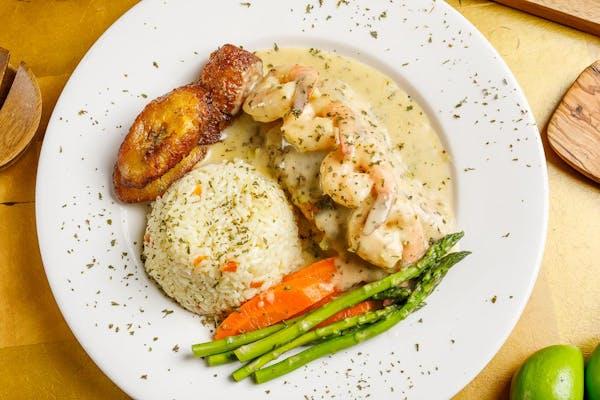 Salmon Parilla with Shrimp