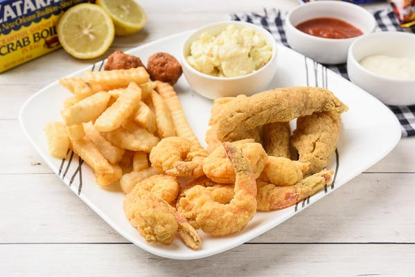 L9. Fried White Trout & Shrimp Lunch Special