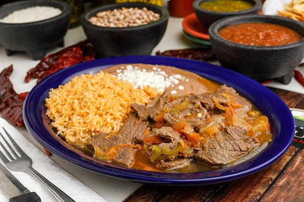 12. Carne A La Mexicana with Rice & Beans
