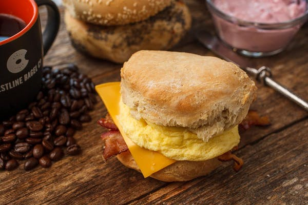 James' Biscuit with Bacon, Sausage or Ham