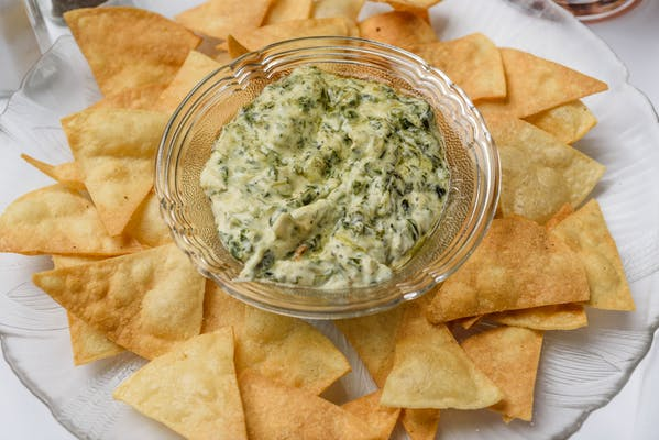 Hot Spinach Dip & Homemade Chips