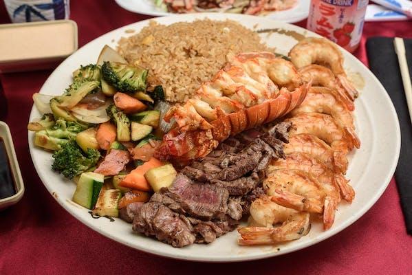 Lobster, Filet Mignon & Shrimp Hibachi Combo